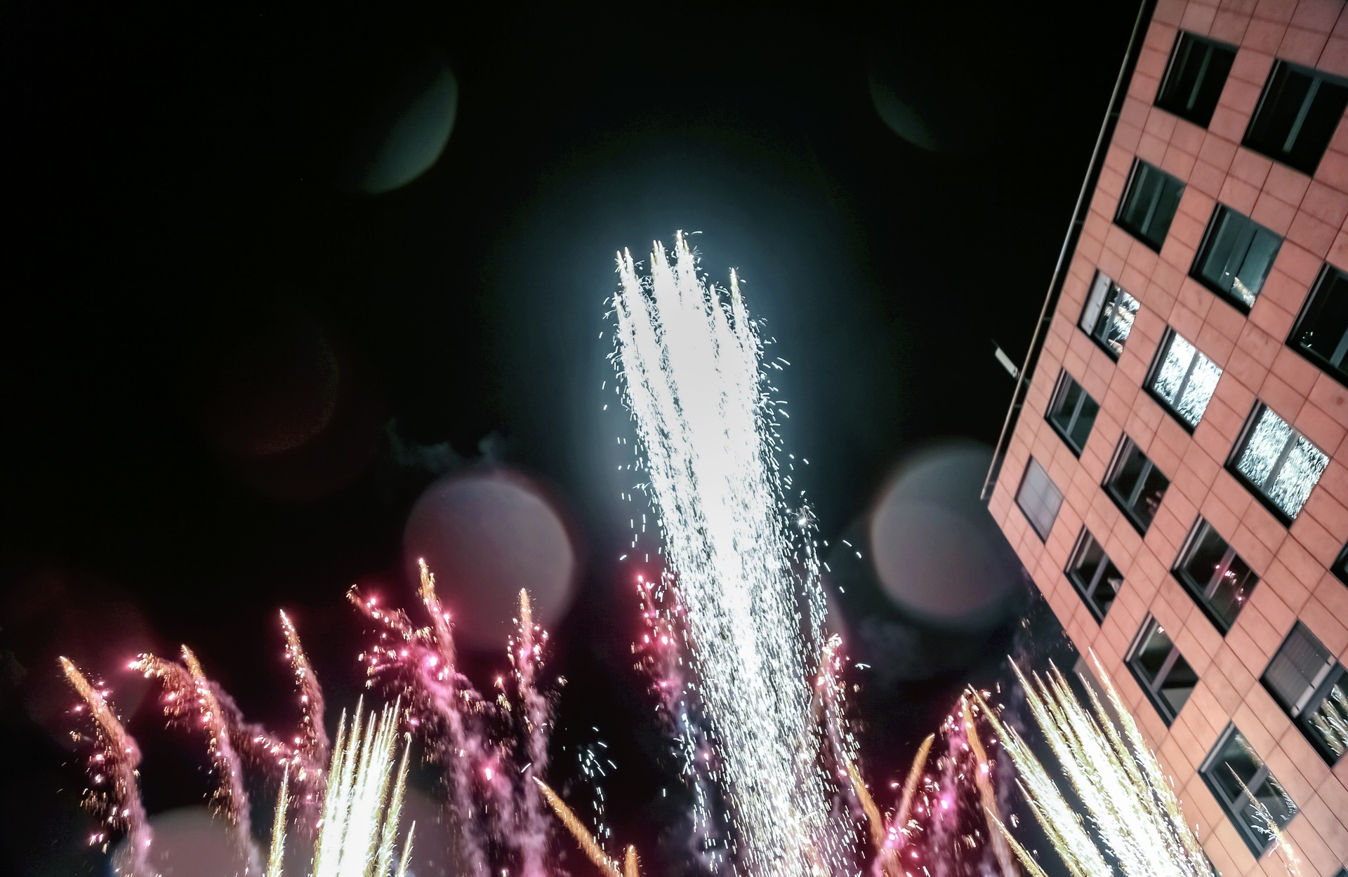 Fireworks at the official opening of the new company location in Berlin-Tempelhof.
