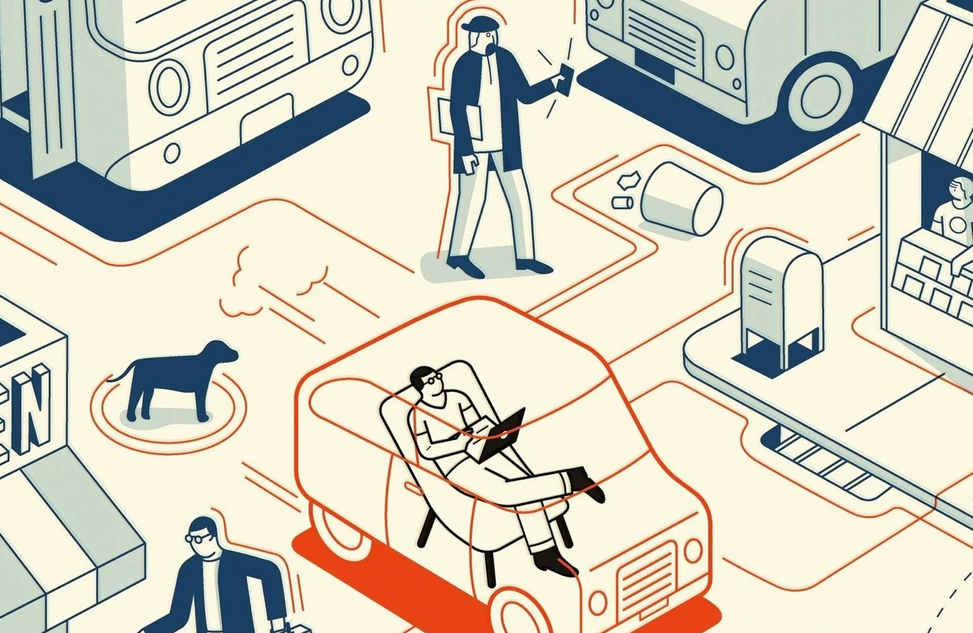 Zeichnung verschiedener CIOs in der Stadt, wie beispielsweise in einem autonom fahrenden Auto.